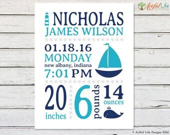 NAUTICAL NURSERY, Nursery Printable, Birth Stats, Baby Boy Nursery, Nautical Nursery Art, Nursery Wall Art, Whale Nursery, Sailboat Nursery