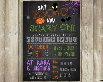 HALLOWEEN PARTY INVITATION - Say Boo and Scary On - Costume Party Invite - Digital File