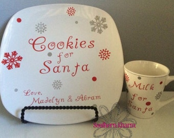 Cookies For Santa Plate with Glass or Mug