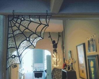 Stained Glass Spider's Web - Corner Cobweb - Handmade