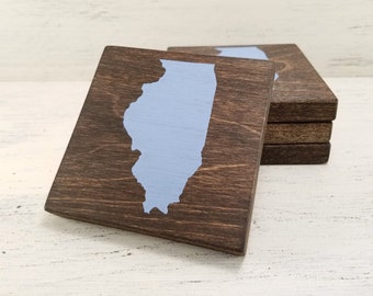 Pick State, Pick Color, Illinois Wood Coasters, Set of 4, Wedding, Housewarming