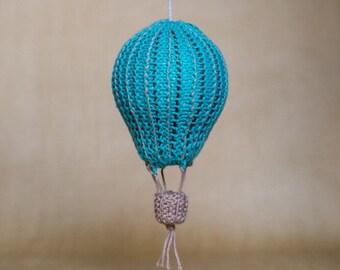 """Hot air balloon knitted nursery decor """"Pinstripe"""""""