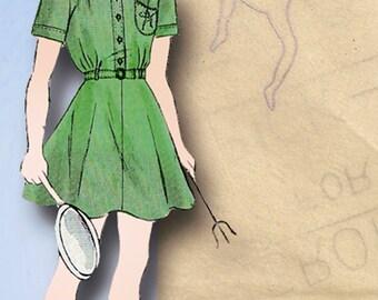 1940s Original Vintage Butterick Pattern 1700 Girls Brownie Uniform Dress Sz 8
