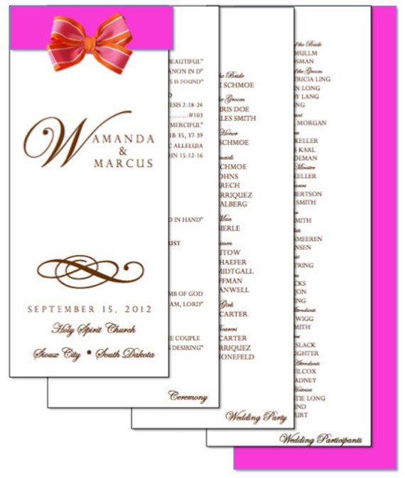 Diy  Page Layered Wedding Program Template Scroll Design