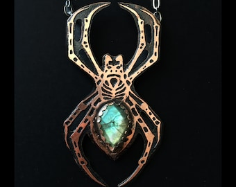 Garden Spider Necklace, Medium Sized Version, with Labradorite stone,   One of a kind Spider Jewelry - Halloween Jewelry