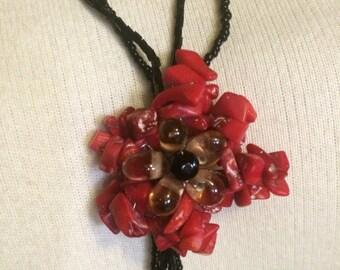 Vintage Coral & Black Jet Necklace, Laniard, Y-shape Necklace