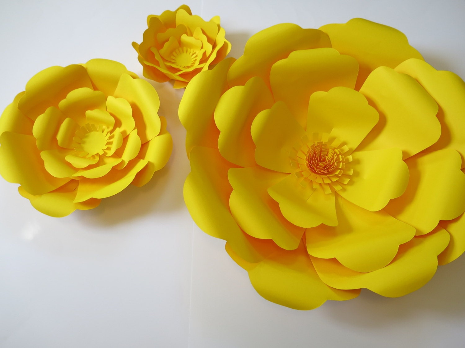 yellow giant paper roses flower wall photography background