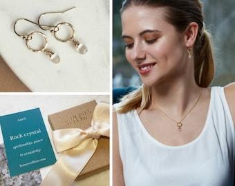 April birthstone jewellery, rock crystal earrings dangle, April birthday gift, birthstone earrings dainty - Clare