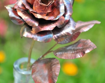 Copper Rose / Hand Forged Metal Rose / Seventh / 7th Anniversary / Gift for Wife / Metal Flower for Her / Handmade Flower