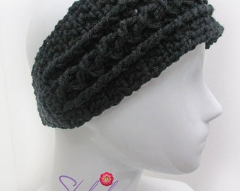 Black Ear Warmer Headband for Women, This Braided  Ear Warmer is Perfect for this Cold Weather.