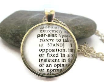 PERSIST Definition Necklace, Dictionary Necklace, Silver or Bronzed