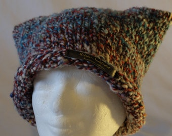 Knitted hat from hand-spun wool, stained