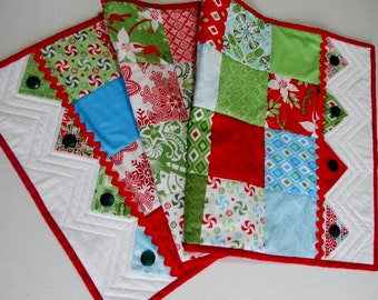 Modern Christmas Joy Quilted Table Runner  Prairie Points