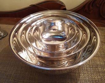 Reduced!!! Vintage Gorham Silverplate Bowl Set of 4 -Silverplate Nesting Bowls - Revere style Nesting Bowls- Revere Reproduction Silverplate