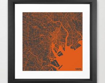 TOKYO Map, Japan, Giclee Fine Art, Modern Abstract, Poster Print, Wall Art, Home Decor, Decoration