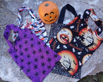 Cute Reuseable Handmade Cotton Fabric Trick Or Treat - Four Bag Combo Set