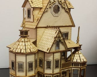 1:48 Scale Wooden Gothic Victorian Dollhouse Kit Ashley Series