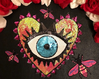 4pc/set New Color Colorful Eyeball Eye Heart Bumble Bee Sequin Fashion Embroidered Iron On Patch DIY
