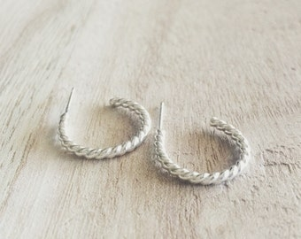 Twisted hoop earrings, hoop earrings, twisted earrings, sterling silver hoops, hoops, sterling silver earrings, sterling silver