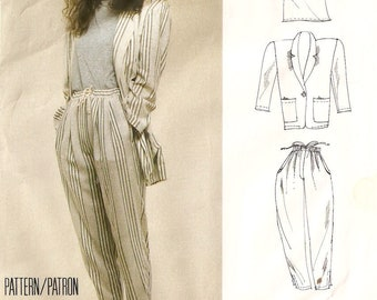 French Connection baggy pants and boyfriend jacket - McCall's vintage 1980s sewing pattern - Size Small