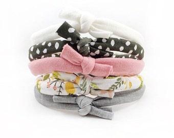 Knotted Headband Set, Photo Shoot Prop, Boho Headband, Baby Knot Headband Set, Stretchy Bow Headbands, Newborn Headband, Baby Girl Headbands