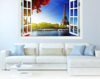 Paris Eiffel Tower Landmark Beautiful Huge Wall Art Sticker Decal WAP-W102W1