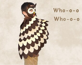 Owl Costume,  Kids Costume, Bird Wings and Mask, Wing Cape