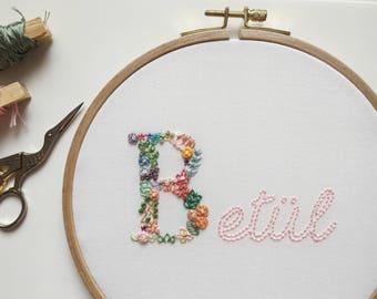 Custom Monogram Floral Design Embroidery Hoop Art
