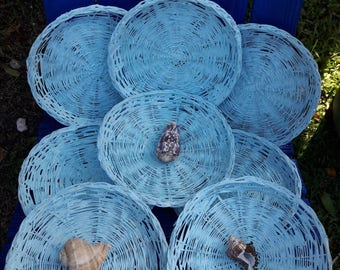 Wicker vintage paper plate holders, set of 8. Painted sea foam blue.