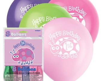 1st Birthday Girl Ladybug Latex Balloons 8ct