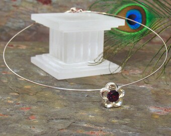 Garnet Flower Pendant Choker ~ Omega Neck Ring ~ Sterling Silver Necklace - NC05
