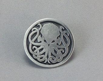 Elegant Aged Pewter Cthulhu pin