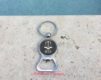 Scales of Justice Personalized Bottle Opener Keychain,Scales of Justice Gift,Monogram Lawyer Gift,Attorney Gift,Gray, Gifts under 15, MB307