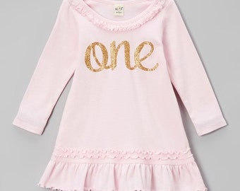 Pink and Gold First Birthday Dress | Pink and Gold Birthday outfit | One birthday outfit | 1st Birthday Dress | Baby Girls Ruffle Dress