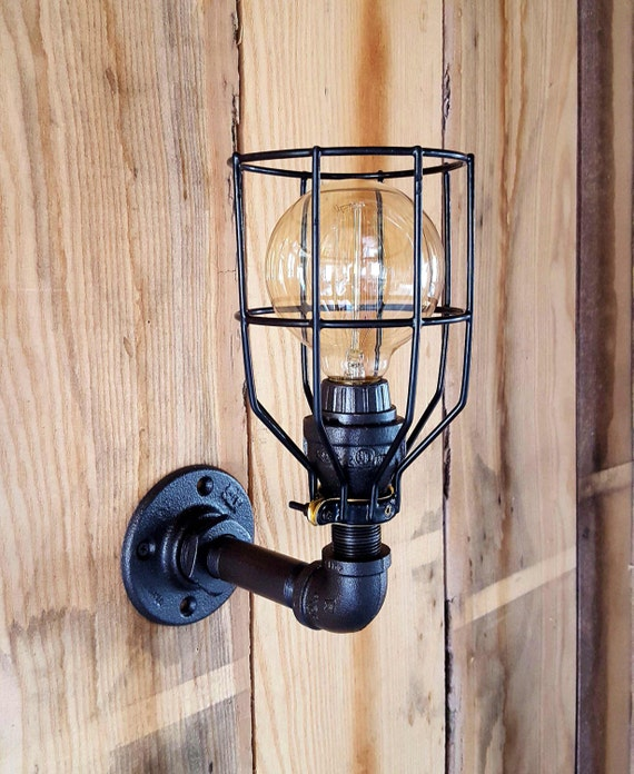 Industrial lighting sconce wall light iron pipe light ul aloadofball Image collections