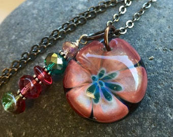Glass Flower Pendant Boro Lily Lampwork Something New