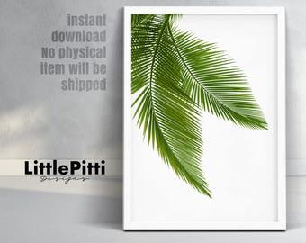 Palm leaves, leaf decor, green decor, california print, palm leaf, palm tree print, palm art print, tropical leaves, tropical wall print,