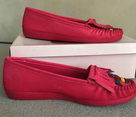 Candies never Vintage 80's 8 Red worn Moccasins size PxgqBg4