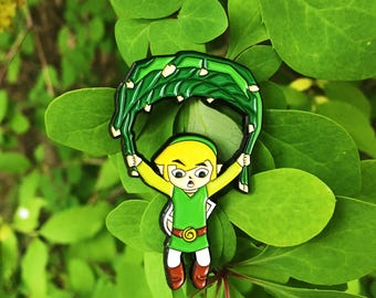 Legend Of Zelda the Wind Waker Link Flying Deku Leaf Enamel Pin