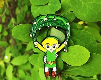 Legend Of Zelda the Wind Waker Link Flying Deku Leaf Enamel Pin
