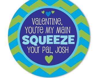Valentine Day Stickers for Kids, Personalized Valentine Treat Bag Stickers for Classroom. Main Squeeze Valentine, Valentine Applesauce