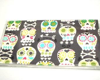 Checkbook Cover Checkbook Holder Cash Holder Coupon Organizer - Bone Head Gray Sugar Skull
