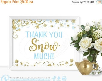 ON SALE Thank you snow much sign, Blue and Gold glitter, Winter ONEderland, First Birthday Party, Baby shower, Bridal Shower, Winter Wonderl