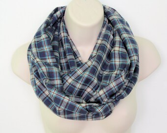 navy plaid infinity scarf, flannel Infinity Scarf -Circle Scarf -plaid Loop Scarf, Eternity Scarf, Fall Scarf, Winter Scarf