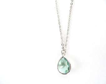 Erinite green glass teardrop necklace Silver and green necklace Mint bridesmaids necklace Green bridesmaids jewelry Mint bridesmaids set