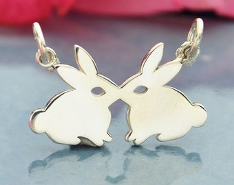 Sterling Silver Kissing Rabbits Charm