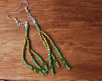 Handmade earrings with crystals C. and beads