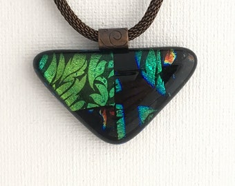 Mothers Day Gift, Fused glass pendant, Stained Glass Look Triangle Pendant , Nantucket pendant, dichroic glass pendant