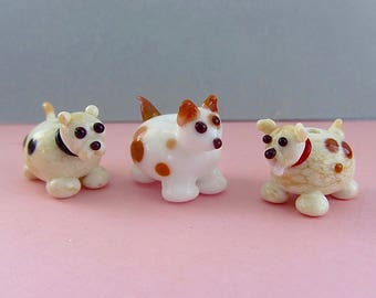 On Sale! Lampwork Dog Pack - Glass Sculptural Animal Beads SRA