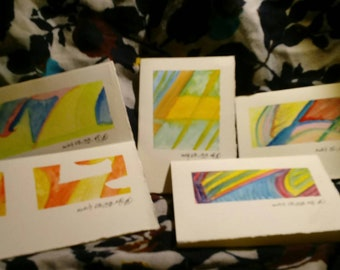 Set of 5 painted notecards with envelopes (B-3)
